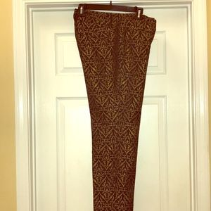 Ann Taylor LOFT black and gold ankle pants